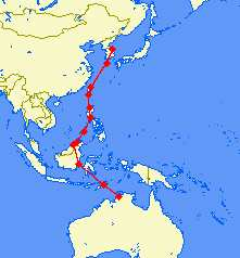 Route from Darwin to Yang Yang